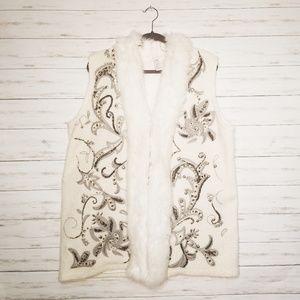 Chicos Beaded Faux Fur Wool Blend Vest Size L/XL
